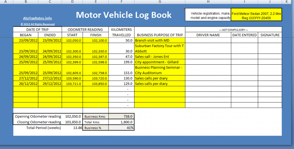 ATO compliant motor vehicle log book excel template