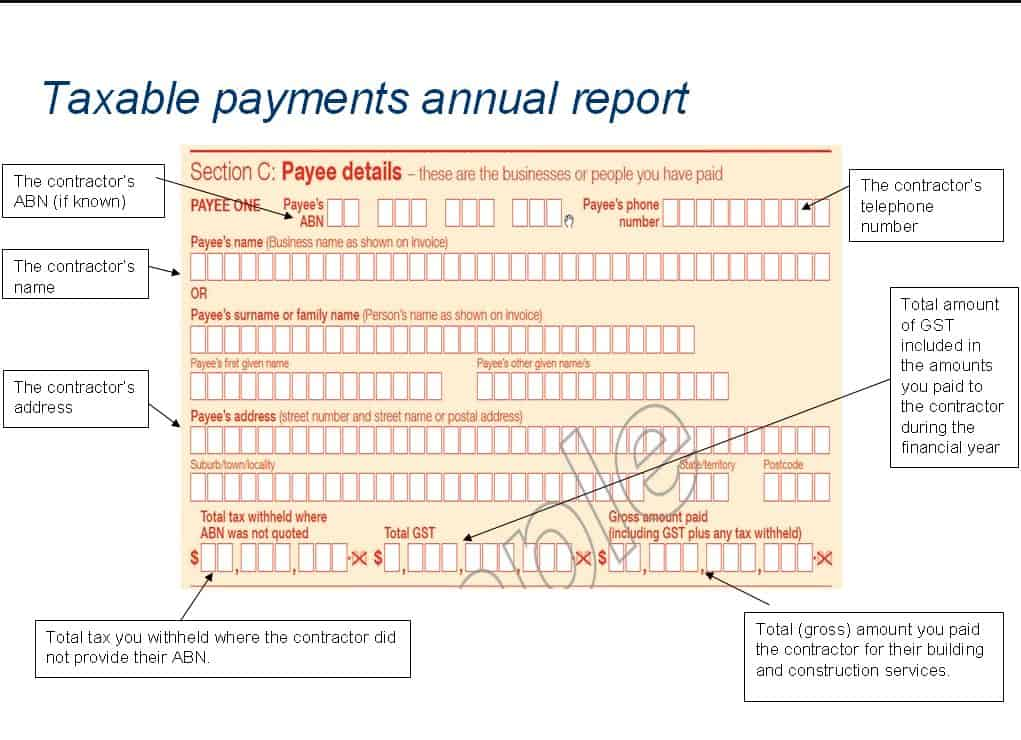 Taxable payments annual report