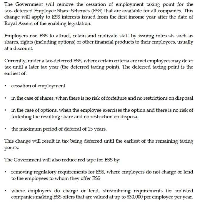 Budget 2021 measure removes cessation of employment as an ESS taxing point